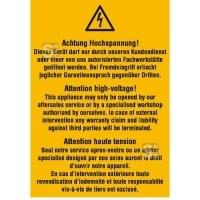 Elektrokennzeichnung / Warnkombischild, Achtung Hochspannung! Dieses Gerät ..., 3-sprachig