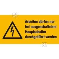 Elektrokennzeichnung / Warnkombischild, Arbeiten dürfen nur bei ...