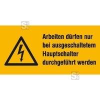 Elektrokennzeichnung / Warnkombischild, Arbeiten nur bei ausgeschaltetem Hauptschalter