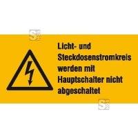 Elektrokennzeichnung / Warnkombischild, Licht- und Steckdosenstromkreis ...