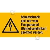 Elektrokennzeichnung / Warnkombischild, Schaltschrank darf nur vom Fachpersonal ...