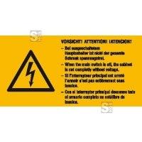 Elektrokennzeichnung / Warnkombischild, VORSICHT! Bei ausgeschaltetem Hauptschalter ..., 4-sprachig