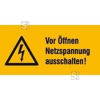 Elektrokennzeichnung / Warnkombischild, Vor Öffnen Netzspannung ausschalten!