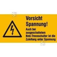Elektrokennzeichnung / Warnkombischild, Vorsicht Spannung! Auch bei ...