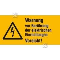 Elektrokennzeichnung / Warnkombischild, Warnung vor Berührung der elektrischen Einrichtungen Vorsicht!
