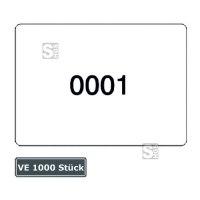 Etiketten, fortlaufend nummeriert, Ziffern 1 bis 1000, 1000 Stück auf Rollen