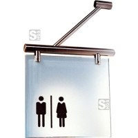 Fahnenschild -Cristallo- aus Einscheiben-Sicherheitsglas, inkl. Befestigungsmaterial