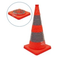 Faltleitkegel -Cone-, Höhe 700 mm, retroreflektierend mit integriertem Blinklicht