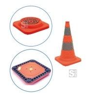 Faltleitkegel -Cone Plus-, Höhe 500 mm, StVZO, retroreflektierend, Vollgummifuß und Blinklicht