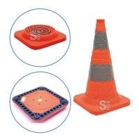 Faltleitkegel -Cone Plus-, Höhe 750 mm, StVZO, retroreflektierend, Vollgummifuß und Blinklicht