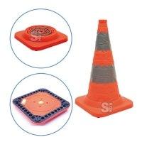 Faltleitkegel -Cone Plus-, Höhe 750 mm, gemäß StVZO, retroreflektierend, mit Vollgummifuß und integriertem Blinklicht