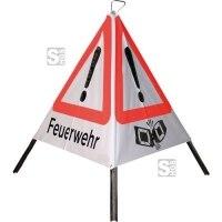 Faltsignal -Care- tagesleuchtend (fluoreszierend), VZ101 Gefahrenstelle, schwere Ausführung