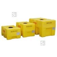 Fass aus PE, 125 - 600 Liter, kastenförmig, gelb