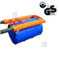 Fassgreifer -F2219- aus Stahl, für liegende 200 Liter-Sicken-Fässer, Tragkraft 300 kg, GS-geprüft