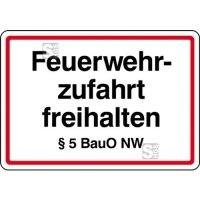 Feuerwehrzufahrt freihalten §5 BauO NW