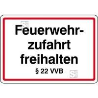 Feuerwehrzufahrt freihalten §22 VVB