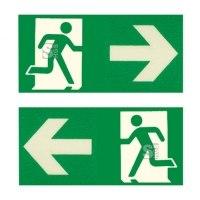 Fluchtweghinweise für Leitmarkierungsstreifen, grün / transp., selbstklebend, nicht nachleuchtend