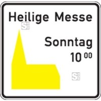 Friedhof- und Kirchenschild -Kirchenschild-, Piktogramm gelb