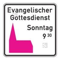 Friedhof- und Kirchenschild -Kirchenschild-, Piktogramm rosa