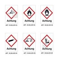 GHS-Gefahrstoffsymbole, Folie (selbstklebend), mit Aufschrift Achtung