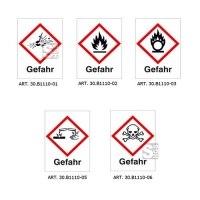 GHS-Gefahrstoffsymbole, Folie (selbstklebend), mit Aufschrift Gefahr