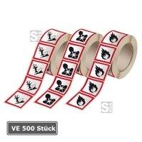 GHS-Gefahrstoffsymbole, VE 500 Stück, Folie (selbstklebend) auf Rolle