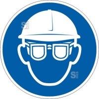 Gebotsschild, Augen- und Kopfschutz benutzen