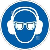Gebotsschild, Gehör- und Augenschutz benutzen