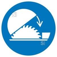 Gebotsschild, Schutzhaube für Tischkreissäge benutzen