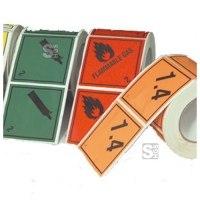 Gefahrenetiketten / Verpackungskennzeichnung 100 x 100 mm aus PVC-Folie (selbstklebend), nach GGVSE / ADR, RID, ADNR, IMDG, IATA