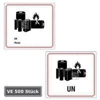 Gefahrenetiketten / Verpackungskennzeichnung Batterie, 500 Stück auf Rolle