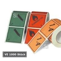 Gefahrenetiketten / Verpackungskennzeichnung auf Rolle, VE 1000 Stück, 100 x 100 mm, Haftpapier selbstklebend, nach GGVSE / ADR, RID, ADNR, IMDG, IATA