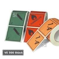 Gefahrenetiketten / Verpackungskennzeichnung auf Rolle, VE 500 Stück, 100 x 100 mm, Haftpapier selbstklebend, nach GGVSE / ADR, RID, ADNR, IMDG, IATA