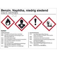 Gefahrstoffetikett, Benzin, Naphtha, niedrig siedend
