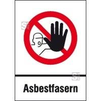 Gefahrstoffkennzeichnung / Verbotskombischild Asbestfasern nach TRGS 519