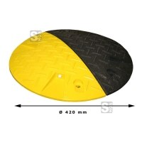 Geschwindigkeitshemmer -Bump- aus Recyclingmaterial, Ø 420 mm, Höhe 50 mm, ein- oder zweiteilig, mit Reflektoren