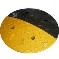 Geschwindigkeitshemmer schwarz / gelb, Ø 400 mm, Höhe 40 mm, kautschukummantelt