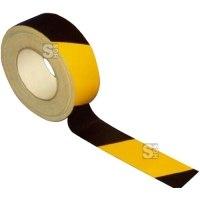 Gewebe-Bodenmarkierungsband -Strong Plus-, schwarz / gelb, Rolle 50 m, für vertikale Flächen im Innenbereich z.B. Lebensmittelindustrie, Krankenhäuser