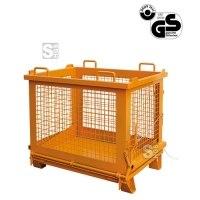 Gitterbehälter -G2037-, entriegelbare Bodenklappe, Kranösen, Tragkr. 500 kg, lackiert o. verzinkt