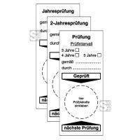Grundplaketten für Prüfplaketten an Arbeitsmitteln und überwachungsbed. Anlagen, verschiedene Aufschriften