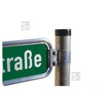 Halterung für Straßennamenschilder, Klemmschelle V-Profil (schräg)