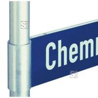 Halterung für Straßennamenschilder mit Alu-Hohlkastenprofil, mit Schelle