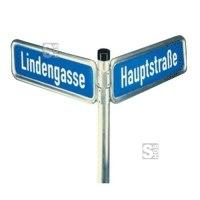 Halterung für Straßennamenschilder, mit V-Profil-Halbschelle