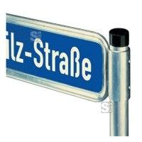 Halterung für Straßennamenschilder, mit V-Profil-Schelle