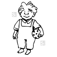 Hartschaum-Schild Kinderfigur mit Fußball, einfarbig