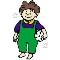 Hartschaum-Schild Kinderfigur mit Fußball, mehrfarbig
