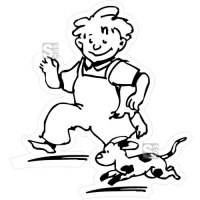 Hartschaum-Schild Kinderfigur mit Hund, einfarbig