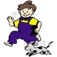 Hartschaum-Schild Kinderfigur mit Hund, mehrfarbig