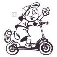 Hartschaum-Schild Kinderfigur mit Roller, einfarbig