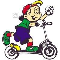 Hartschaum-Schild Kinderfigur mit Roller, mehrfarbig